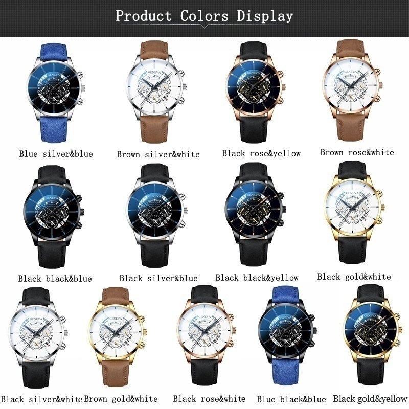 Classic Men Luxury Fashion Quartz Watches Business Casual Black Leather Strap Hollow Calendar Fake Three-Eyed Dial Analog Chronograph Mens Wrist Watches
