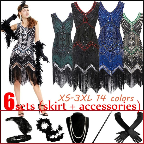 (6 pcs/sets)1920s Gatsby Sequin Fringed Paisley Flapper Dress with 5 pcs Accessories SetVintage Dress Great Gatsby Dress 1920s Sequin Flapper Evening Dress Prom Tassel Hem Dress