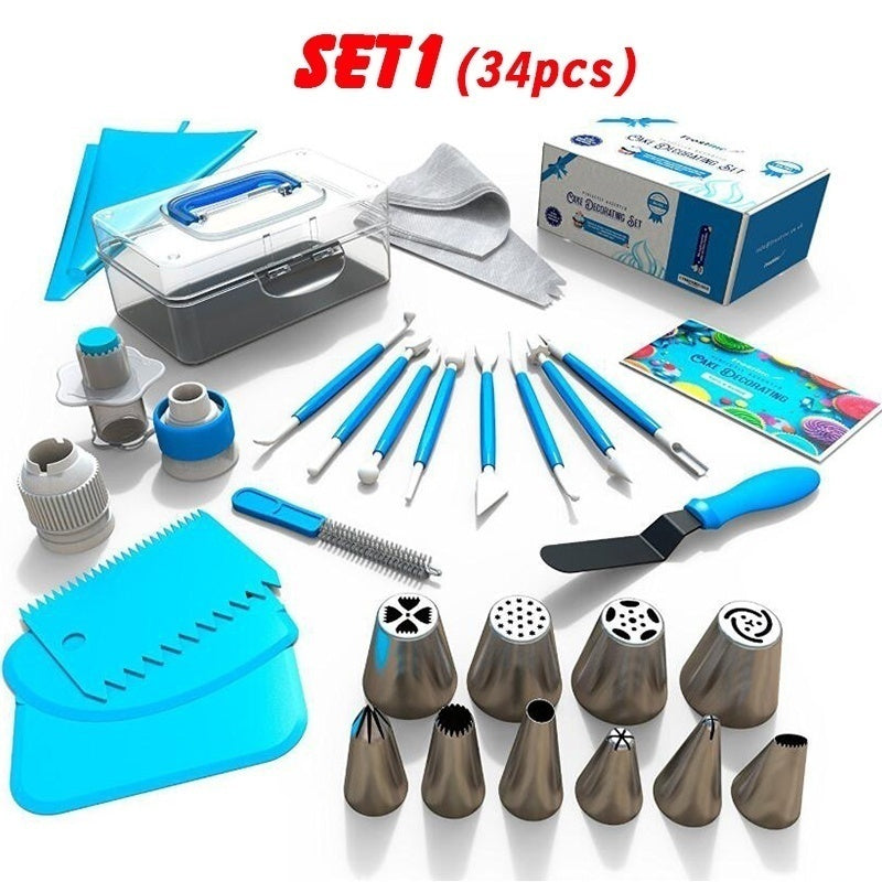 34/42/73/124 Pcs/Set Diy Cake Decorating Set Cake Turntable Pastry Bag Nozzles Pie Shovel Decoration Making DIY
