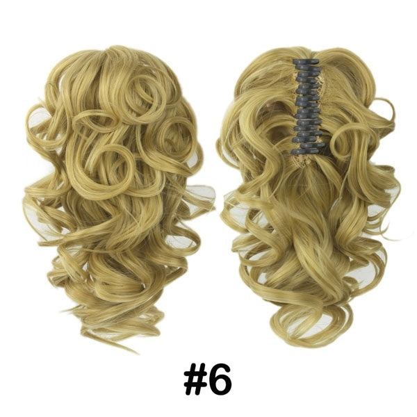Womens Claw Ponytail Extension Short Curly Cute Wigs Clip In Hairpiece Girls Wavy Synthetic Fluffy In Pony Tail Hair Pieces Hair Accessories with Jaw Claw