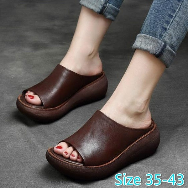Women Summer Flats Slippers Round Toe Slip on Shoes Loafers Baotou Sandals High Heel Open Toe Platform Shoes  Sandals Flip Flops Beach Slippers Plus Size