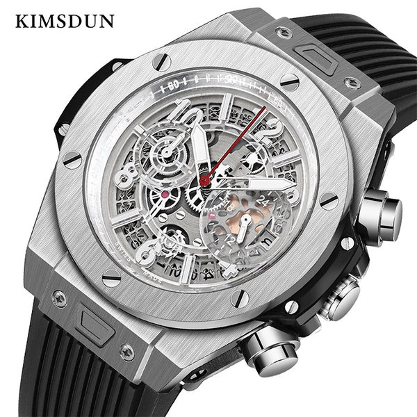 KIMSDUN Fashion Military Men's Business Trend Watch Automatic Mechanical Watch Personality Silicone Strap Relogio Masculino