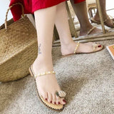2019 New Ladies Shoes String Bead Slippers Women Shoes Summer Beach Pineapple Flat Slippers Outside Slides Zapatos De Mujer