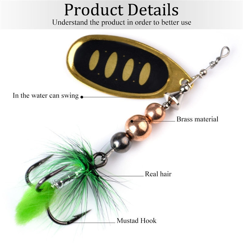 FTK 1PCS Fishing Spinner Bass Lure Bait 12G 18G With Treble Hook