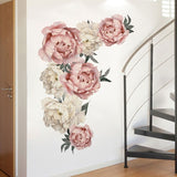 NEW Peony Flowers Pattern Wall Sticker Art Decal Background Sticker For Home Living Room Bedroom Decor