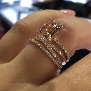 Sparkling Women's Fashion 925 Sterling Silver 14K Rose Gold Natural Morganite Diamond Ring Anniversary Gift Engagement Bridal Wedding Jewelry Rings Set  Size 5-10