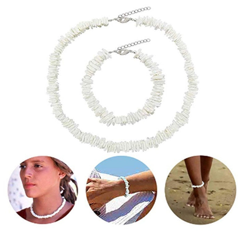 Hawaii Puka White Clam Chips Shell Necklace Natural Irregular Chips Seashell Choker Necklace for Women Charm Beach Statement Jewelry Gift