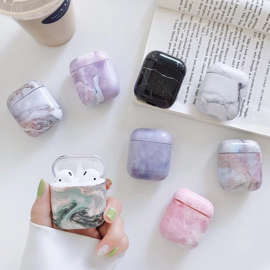 Fashion Marble Design Fresh Style Pink Purple Hard Plastic Protective Case for Airpods 1/ 2