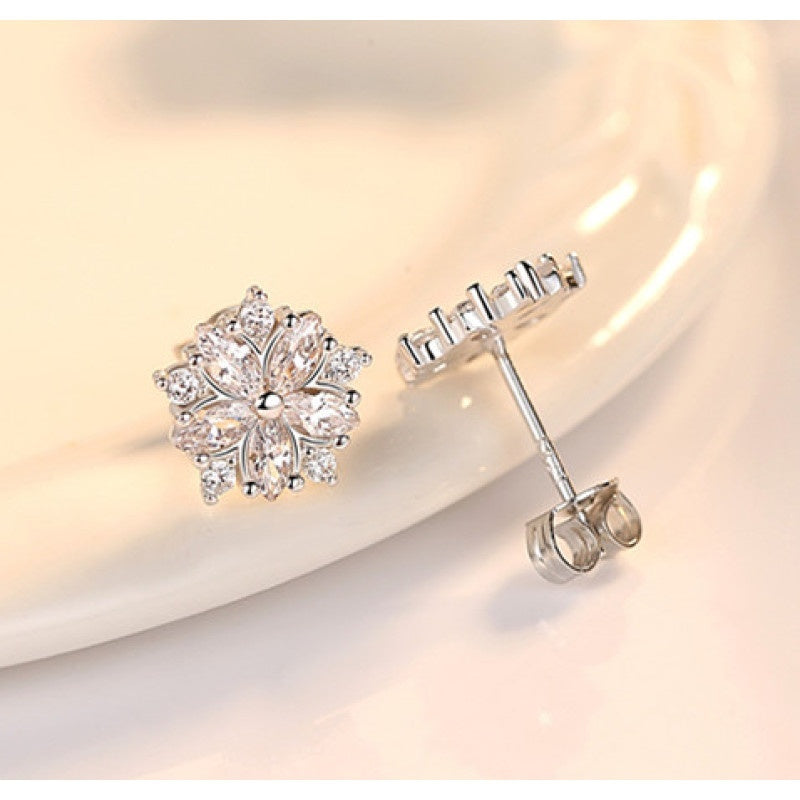 Romantic 925 Sterling Silver Pink Topaz Ziconia Diamond Women Flower Stud Earrings Wedding Jewelry Accessories Gifts