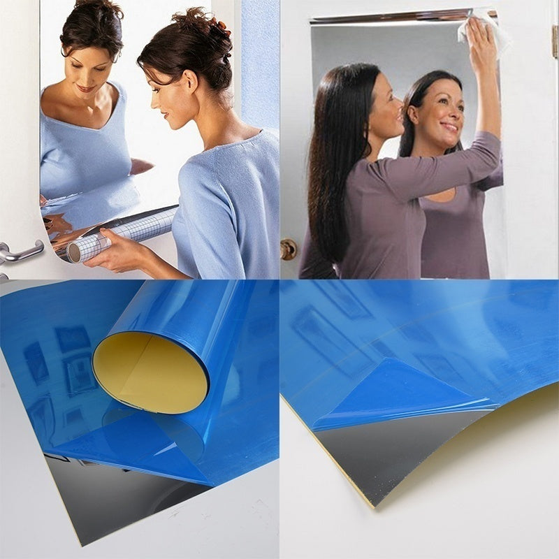 50x100cm Reflective Mirror Stickers Self-adhesive Mirror Wall Sticker Living Room Reflective Mirror Stickers