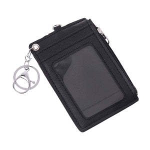 Portable Leather Business ID Card Credit Badge Holder Coin Purse Wallet Keychain WHI