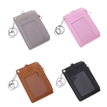 Load image into Gallery viewer, Portable Leather Business ID Card Credit Badge Holder Coin Purse Wallet Keychain WHI