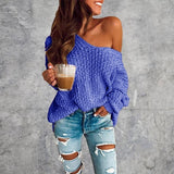 2019 New Fashion Women Autumn Loose Thick Knitted Sweater Solid Color One Shoulder Pullover Casual Warm Long Sleeve Tops Plus Size 6 Colors