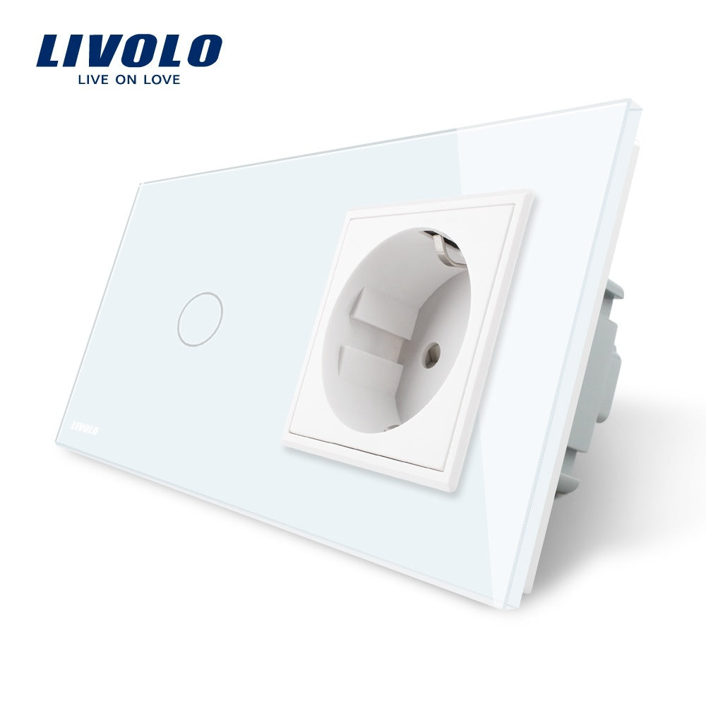 1Pcs Home Use 1Gang 1Way LED Glass Panel Light EU Touch Screen Switch and Power Socket Plug