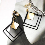 Black Metal Square Clip On Earrings Without Piercing Geometry Square No Ear Hole Earrings CE376