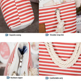 2019 Casual Summer Canvas Shopper Shoulder Bag Striped Beach Bags Large Capacity Tote Women Ladies Casual Shopping Handbag