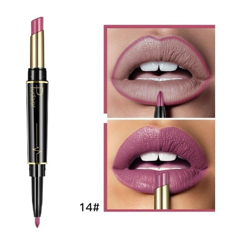 16 Colors Double-head Lipstick Lip Pencil Matte Lip Stick Rotating Lip Liner Long-lasting Non-stick Cup Lipstick