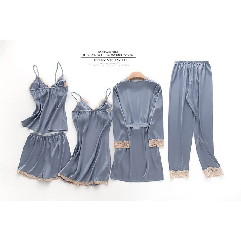 Women Lingerie Nightgowns Set, Five Pieces Silky Fabric Lounge Wear Pajamas Smooth Breathable Pajamas