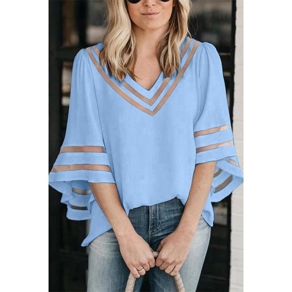 Women Chiffon Tops Fashion Loose Half Sleeve See Through Cool Shirts Casual Lady V-Neck Blouse Plus Size