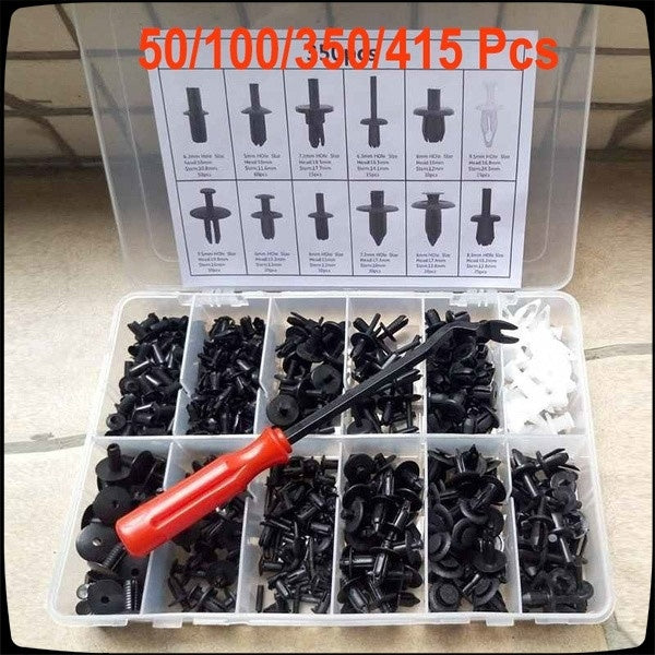 Professional for Car Body Push Pin Rivet Fastener Trim Moulding Clip(50PCS/100PCS/350PCS/415PCS) + Screwdriver Removal Tool