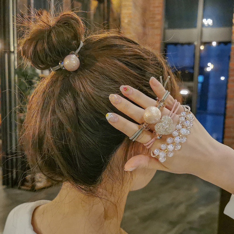 Fashion Hair Accessories Set Cute Simple Pearl Tie Hair Band Head Rope Headdress Female