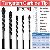 5Pc Multi-Material Tungsten Carbide Tip Tile Drill Bits for Porcelain Ceramic Concrete Brick Wall Glass Mirrors Plastic Wood