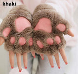 Women Cute Bear's Paw Cat Paw Glove Girl Mitten Furry Thick Half Finger Gloves Mitts