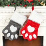 1PC Christmas Gift Bags DIY Pet Dog Cat Paw Stocking Socks Xmas Tree Hanging Pendant Toy Doll Gifts Candy Bag
