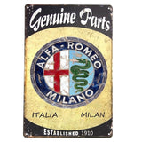 Genuine Parts' Alfa Romeo Metal/Tin Sign, Hot Rod, Rat Rod, Street Rod, Man Cave'