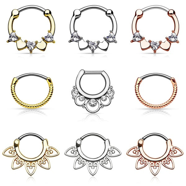 16G Nose Ring Hoops Surgical Steel Septum Clicker Daith Earrings Piercings Body Jewelry (1pcs)