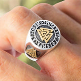 Cool Men Gold and Silver Color Viking Stainless Steel Biker Rings Vikings Triangle Odin Nordic Jewelry