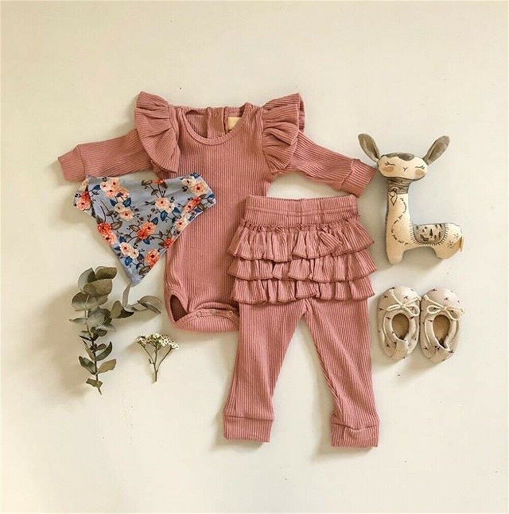 Newborn Baby Girl Clothes Long Sleeve Romper Bodysuit Ruffle Pants Leggings Outfits 3PCS