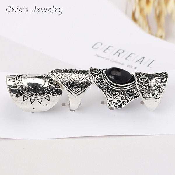 4pcs Boho Vintage Carved Black Gemstone Big Ring Combination Woman Jewelry Ring Set Gift