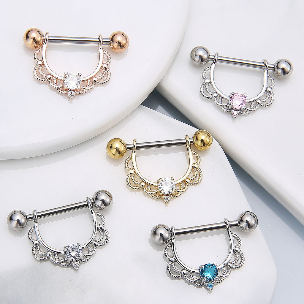 Blossom Nipple Ring Surgical Steel Nipple Barbell Piercings Body Jewelry (1pcs)