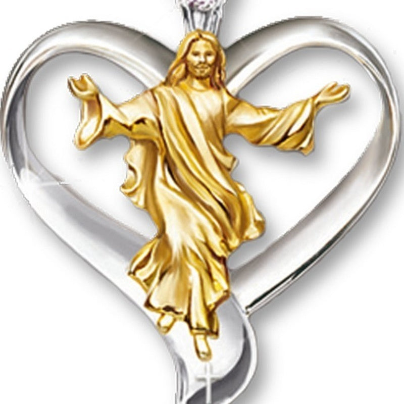 14KRGP Cross Jesus White & Gold Heart Pendant Women Jewelry Pendant Necklace Silver Chain