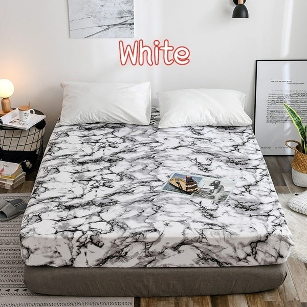 1/2/3Pcs Elastic Fitted Sheet Deep Pockets Up To 16 Inches Marble Printed Brushed Microfiber Mattress Covers Set Twin Full Queen King 5 Size 6 Colors (Pillowcases Optional)