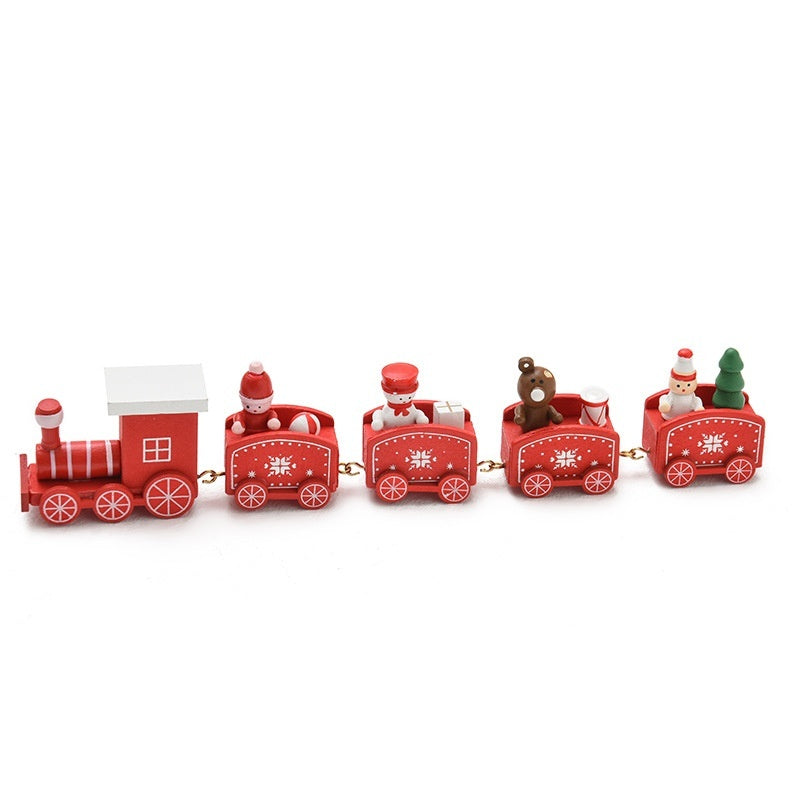 4/5 Sections Christmas Wood Train Christmas Decoration for Home with Santa/bear Xmas Kid Toys Gift Ornament New Year Gift