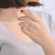 Load image into Gallery viewer, Women  Fashion Dainty 18k Rosegold  Red Rubine Gemstone Diamond Rings