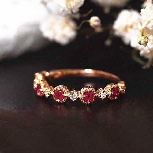 Women  Fashion Dainty 18k Rosegold  Red Rubine Gemstone Diamond Rings