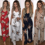 Strap Pants Floral Printed Backless Jumpsuit Sexy Sleeveless Rompers Vacation style Jumpsuit