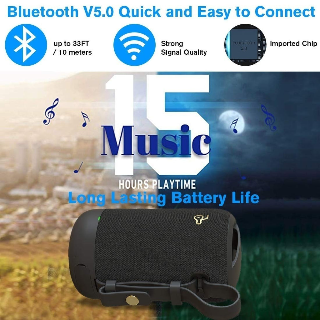 NEW Fashion Portable IPX5 Waterproof Wireless Bluetooth 5.0 Speaker with 1500mAh large battery capacity HIFI Bass 3D Stereo surround sound Support TF SD Card/AUX/USB Port For Home Travel Beach Party