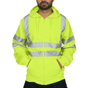 Do you want to be safer???Mens Road Work High Visibility Pullover Long Sleeve Hooded Sweatshirt Tops Blouse#
