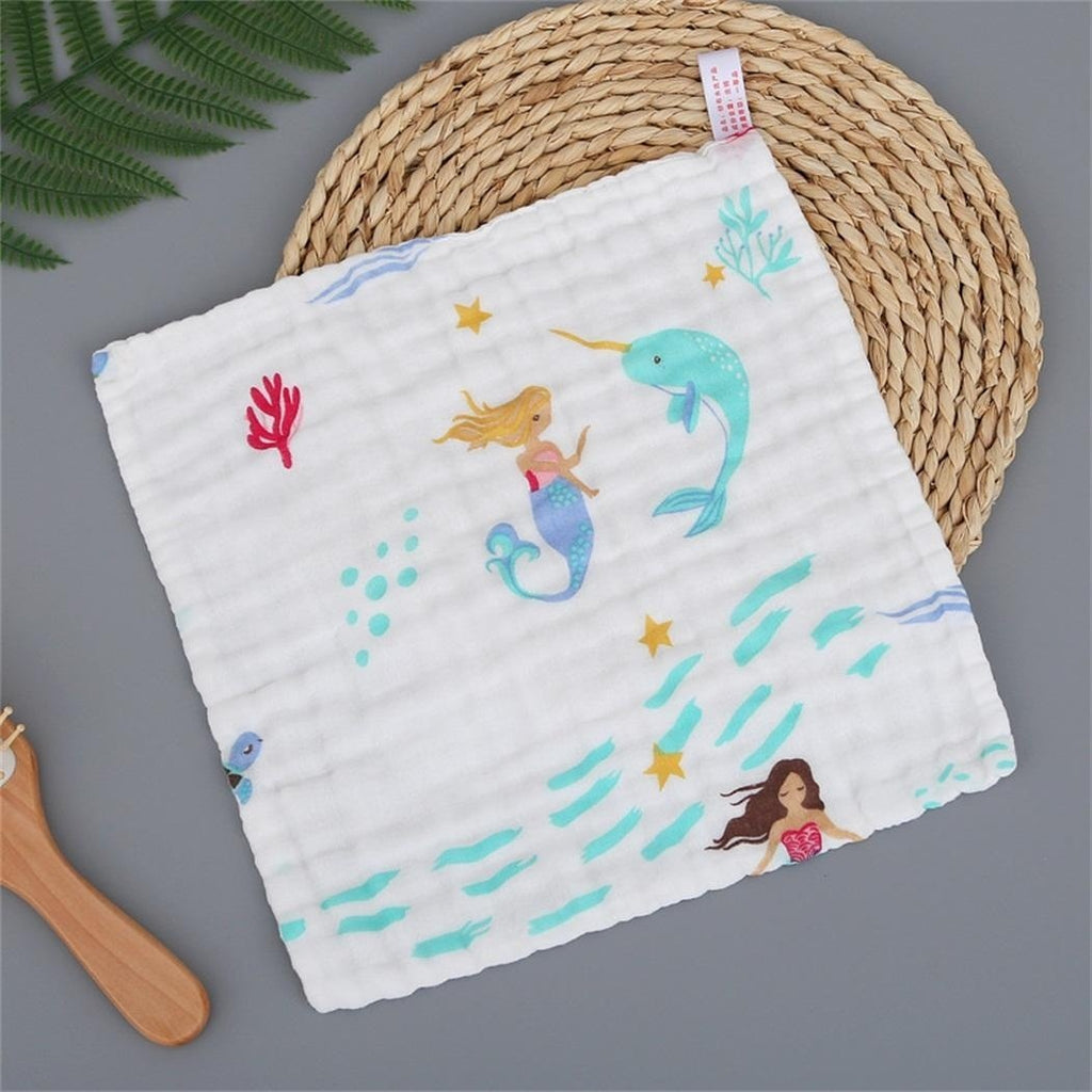 Cartoon Printed Square Cute Face Washing Cloth Children Baby Feeding Towel