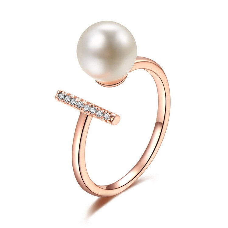 Luxurious 18K White Glod Filled Pearl Open Ring Wedding Bride Engagement Anniversary Gift Diamond Openable Adjustable Size Rings for Women Jewelry(White,Gold,Rose gold)