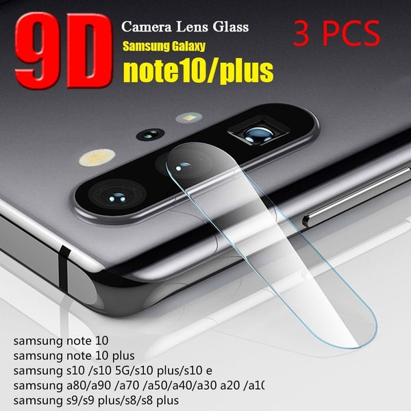 3 Pcs Tempered Glass For  Samsung Galaxy Note 10 Note 10 Plus Note 9 S10 S10 Plus S10 E A70 A50 A40 A30 A20 A10  Camera Lens Screen Protector