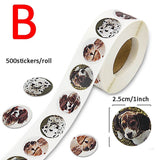 Zoo Animal Stickers Cartoon Dog Animal Sticker Roll Reward Label for Children Kids Student Party Holiday Birthday Decoration Gift Favors
