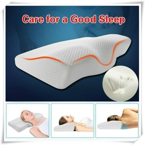 2019 new 50*30CM slow rebound memory sponge health pillow neck contour pillow, suitable for neck pain, anti-snore side pillow, sleep pillow, equipped with washable pillowcase health pillow