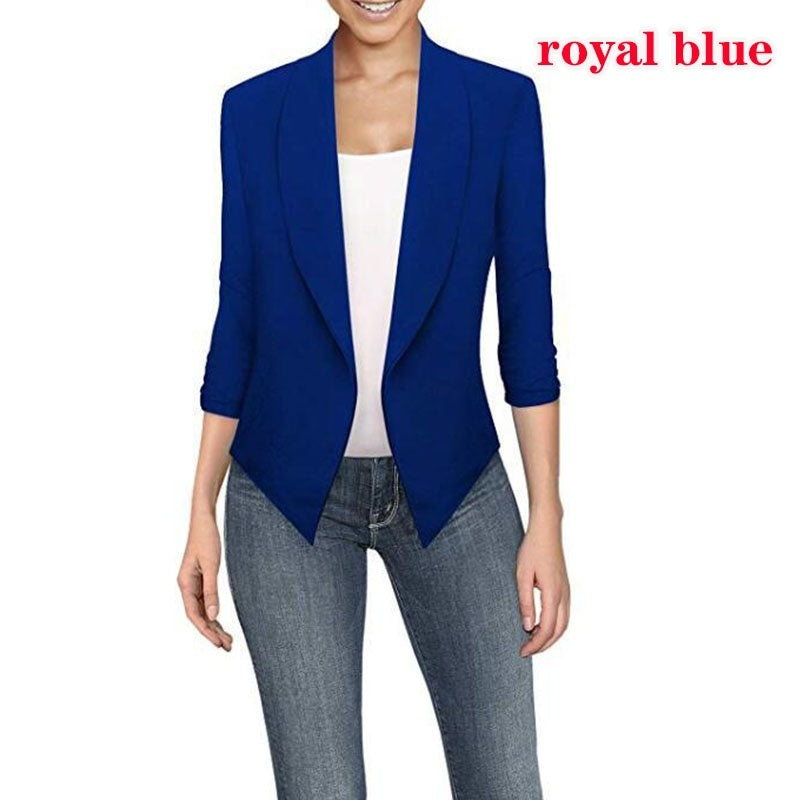 Autumn Women Long Sleeve Irregular Solid Color Small Suit Casual Slim Simple Lapel Small Business Suit Coat