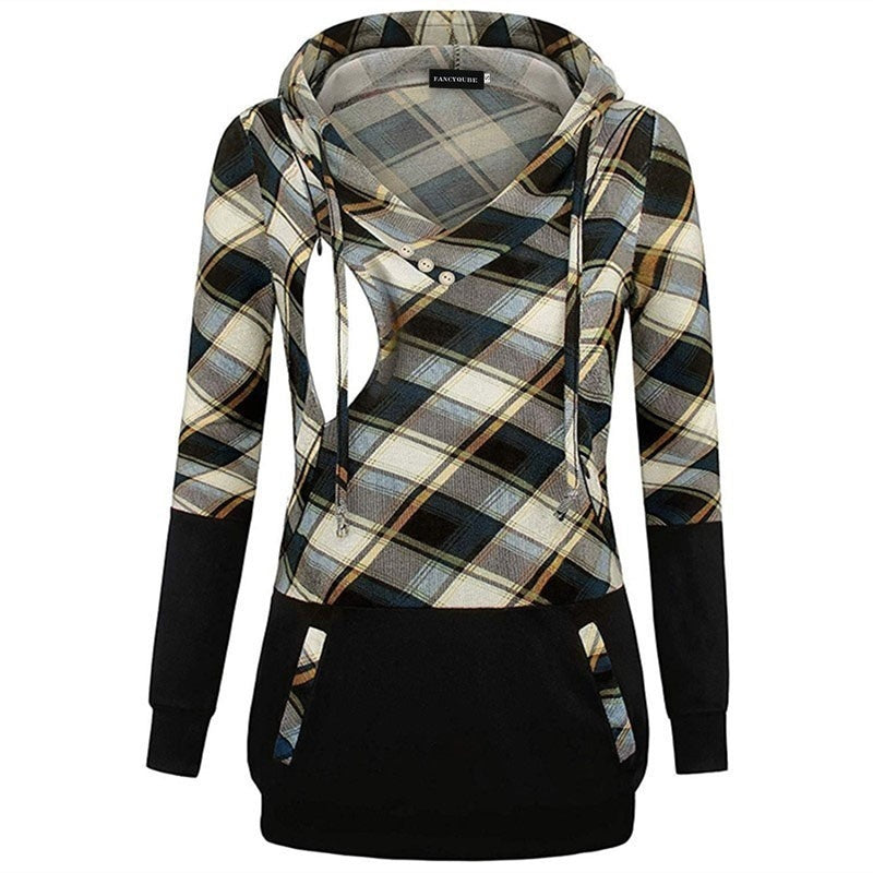 2019 New Arrival Autumn Pregnant Women Plaid Printed Hoodie Casual Long Sleeve Breastfeeding Hoodie For Maternity Mother