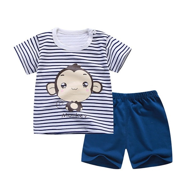 2Pcs Cartoon Kids Boy Clothing Set Hot Boys Clothing Set Children Summer T-shirt+Pants Cotton Girls Clothes